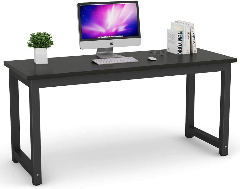 Tribesigns Modern Computer Desk, 32 inch Large Office Desk Computer Table  Study Writing Desk Workstation for Home Office, Black Metal Frame