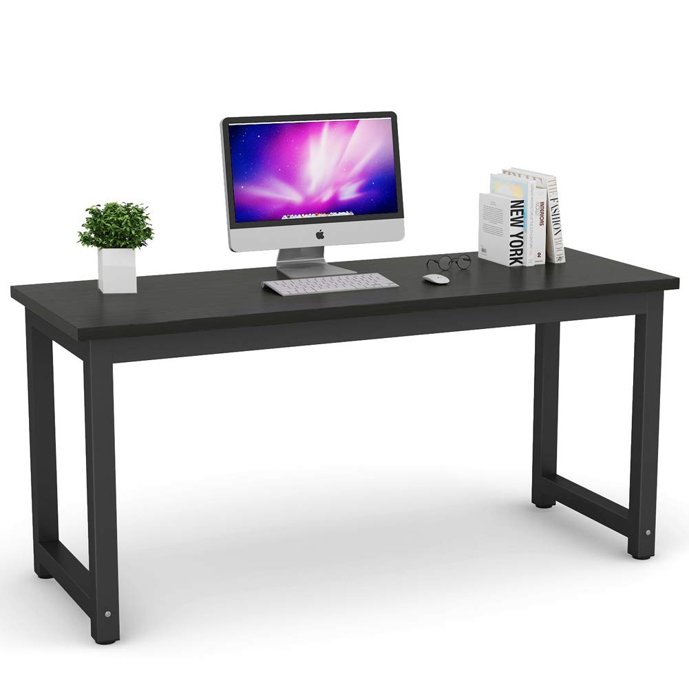 Tribesigns Modern Computer Desk, 63'' Large Office Desk Computer Table Study Writing Desk for Home Office, Black Metal Frame