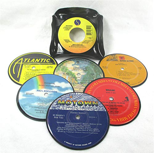 - Recycled Vinyl Record Drink Coasters Gift Set of 6 with Coaster Caddy REAL RECORDS