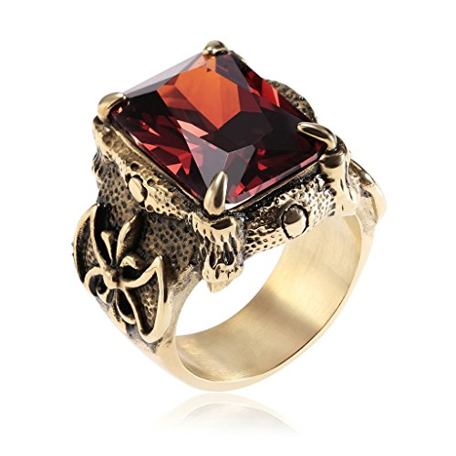 [Epinki Mens Stainless Steel Punk Biker Signet Classic Ring Vintage Claw Red Ruby Ring Red Size 10] (Soa Toddler Costume)