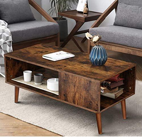 KINGSO Retro Coffee Table Mid Century Modern Coffee Table