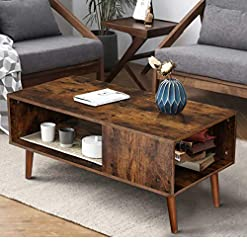 Living Room KINGSO Retro Coffee Table Mid Century Modern Coffee Table with Storage Shelf for Living Room Boho Vintage Wooden Coffee… modern coffee tables