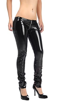 0f361643e3d94 Amazon.com: LinvMe Women's Sexy PU Faux Leather Wetlook Pants Low Waist  Trousers: Clothing