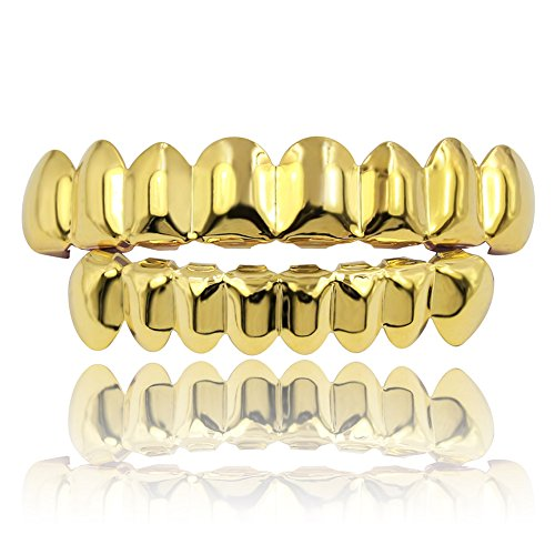 JINAO 18K Gold Plated Gold Finish 8 Top Teeth & 8 Bottom Tooth Hip Hop Mouth Grills (Gold ()