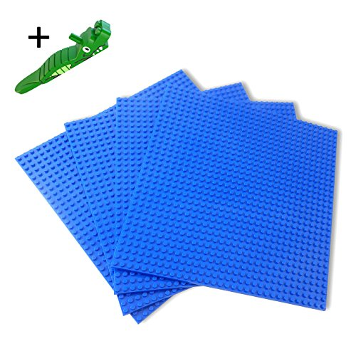 Building Bricks Blue Baseplates 10' × 10' Pack of 4 Pieces Compatible with Lego (click 'Add Both To Cart' on special offers options to get a free brick separator)