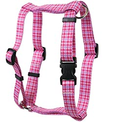 Yellow Dog Design Preppy Plaid Pink Roman Style H Dog Harness, X-Small-3/8 Wide fits Chest of 8 to 14""