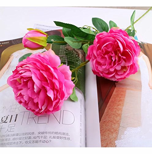 (tutu.vivi Fake Flowers Artificial Silk Peony Bouquets Wedding Party Home Decoration,Pack of 2 (Fuschia))