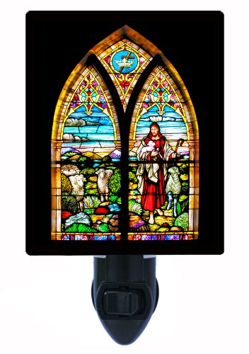 (Religious Night Light, Stained Glass Good Shepherd, Church)