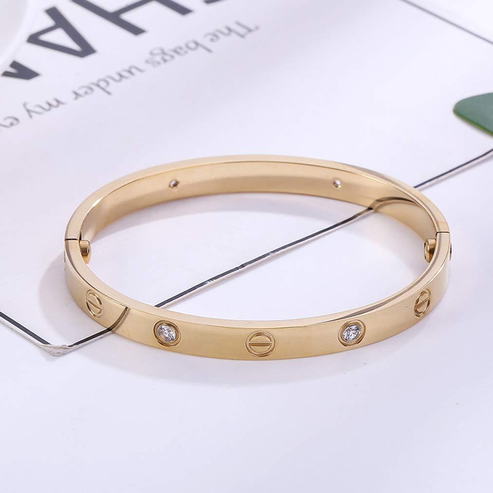 BESTJEW Womens Love Bracelet Stainless Steel Cuff Bangle Bracelet with Screwdriver 6.7Inch Gold by BESTJEW (Image #3)