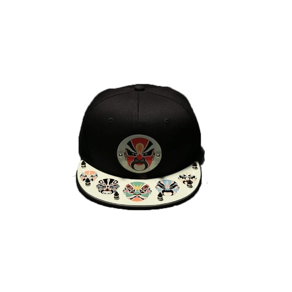 Zhongyue Chinese Style Hat Male Personality Classic Face Baseball Cap Fashion Luminous Hat Female Trend Retro, Black Summer hat (Color : Black)
