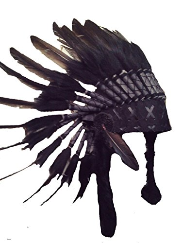 Short Black Feather Headdress | Native American Indian Inspired.