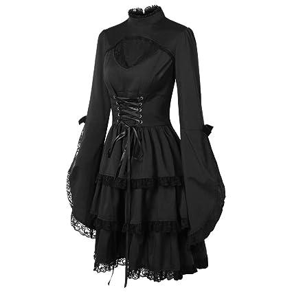 Lenfesh Otoño Invierno Mini Vestido con Manga Larga para Mujer Vestido gotico Negro Vestido de Fiesta Cóctel Vintage Rockabilly Vestido de Fiesta: ...