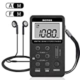 Portable Radio Mini AM FM Digital Radio with Earphones Pocket Personal Radio Compact Transistor Radio AM FM Stereo Radio Rechargeable LCD Display for Gift Walk Jogging Outdoor (Black)