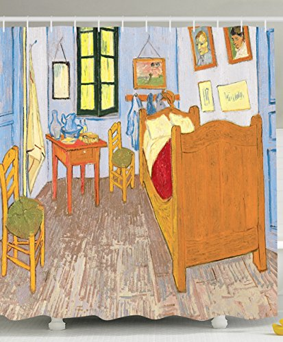 Artist Artwork Shower Curtain Drawings by Vincent Van Gogh Bedroom in the Arles Reproduction for Bathroom Decoration Decorative Art 100 Masterpieces - Mustard Ivory Red Green Light Blue Khaki-
