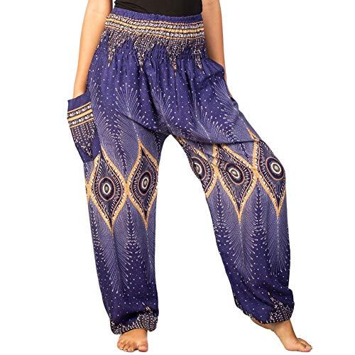 2 Floral Donna Boho Blu Lofbaz Harem Smocked Pantaloni Waist xwvU7g17q