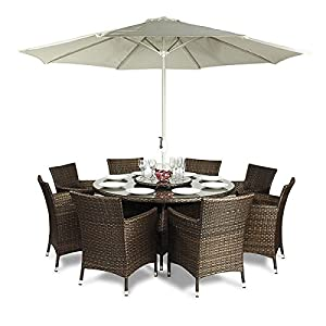 Savannah rattan garden furniture round glass dining table for 12 seater outdoor table and chairs