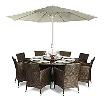Savannah Rattan Garden Furniture Round Glass Dining Table And 8 Seat Chair  Set + Cushions +