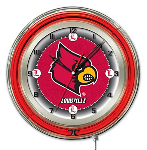 Louisville Cardinals HBS Neon Red College Battery Powered Wall Clock (19