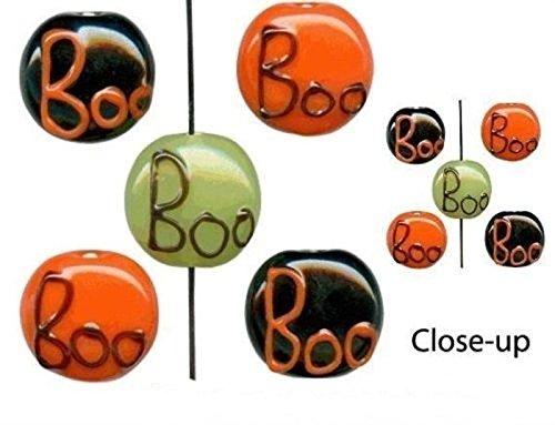 Orange Black Green Lampwork Glass Halloween Boo Coin