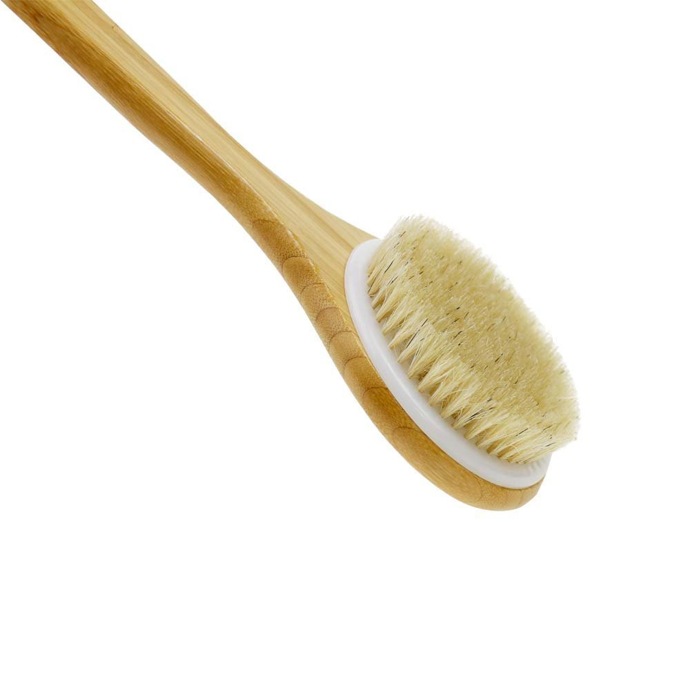 Body Brush,Justime Bath Back Scrubber,Long Wooden Handle Bath Shower Brush with Natural Bristles