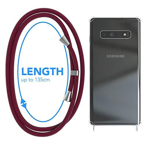 EAZY CASE Handykette kompatibel mit Samsung Galaxy S10 Plus Handyhülle mit Umhängeband, Handykordel mit Schutzhülle, Silikonhülle, Hülle mit Band, Stylische Kette für Smartphone, Burgunder Rot