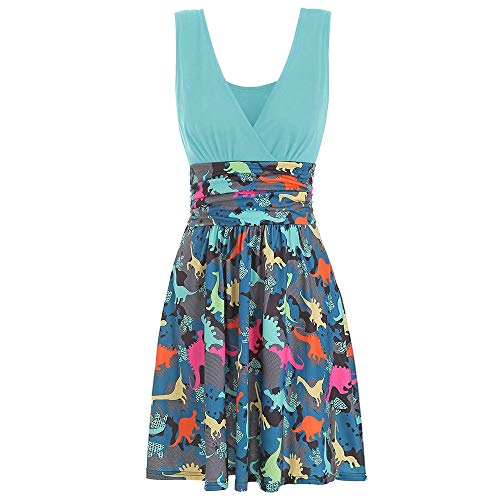 KCatsy V Neck Ruched Dinosaur Print Sleeveless Dress Light Sky Blue -