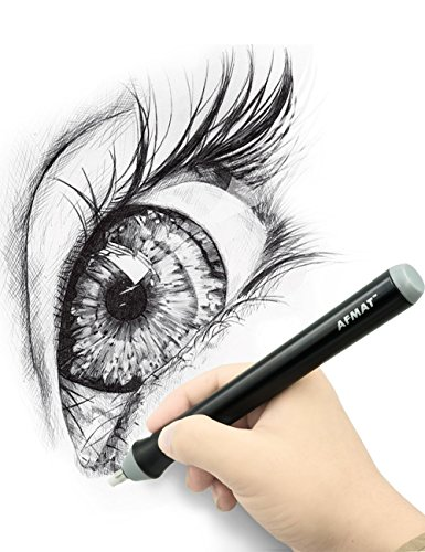 Electric Eraser Kit Battery Operated Sketching Drawing Pencil Eraser 2 Highlights(erasing) Effects with 100pcs Rubber Refills(40 Big + 60 Small), for Artists Painters Designers Students Teachers-Black Photo #5