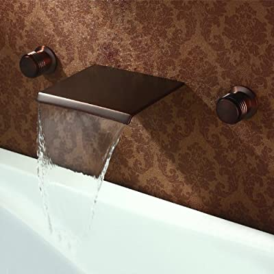 Rozinsanitary Waterfall Bathtub Faucet Wall Mounted Double Handles Oil Rubbed Bronze Mixer Tap