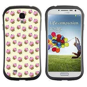 LASTONE PHONE CASE / Suave Silicona Caso Carcasa de Caucho Funda para Samsung Galaxy S4 I9500 / muffin cupcake yellow pink pattern cute