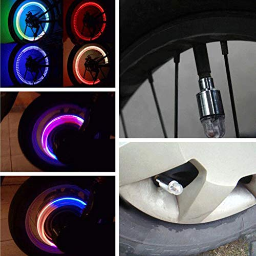 Sizet LED Tyre Valve Stem Caps, 4 Packs LED Multi-Color Wheel Lights Safety Visibility for Automatic Bicycle (Color-Changing)