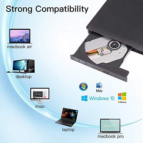 Grabadora CD / DVD Externa Usb 3.0, Unidades de DVD externas USB3.0, Quemador /Lectorde CD externo USB portátil para computadoras, PC, compatible con Windows XP /2003 /10 /8 /7 /Vista /Linux/Mac OS X