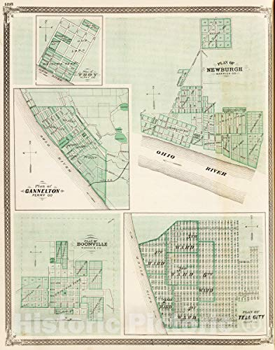 Historic Map | 1876 Plan of Newburgh, Warrick Co. (with) Boonville, Troy, Cannelton, Tell City. | Vintage Wall Art | 24in x 30in