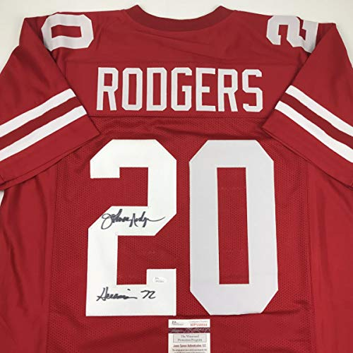 Autographed/Signed Johnny Rodgers Heisman 72 Nebraska Cornhuskers Red Football Jersey JSA COA