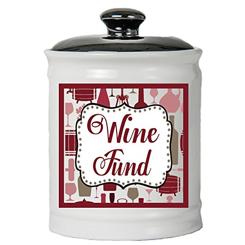 Cottage Creek Wine Gifts Wine Fund Decorative Jar/Round Wine Piggy Bank with Lid Wine Lovers Coin Bank [White]