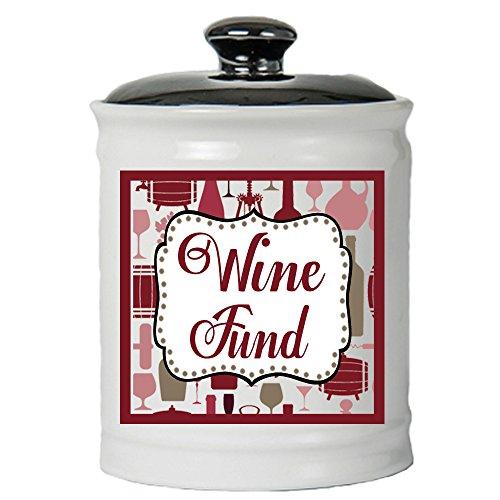 Cottage Creek Wine Gifts Wine Fund Decorative Jar/Round Wine Piggy Bank with Lid Wine Lovers Coin Bank [White] (Fund Money Bank)
