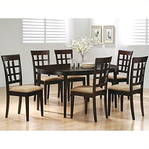 Coaster Oval Dining Table and 6 Wheat Back Chairs in Cappuccino