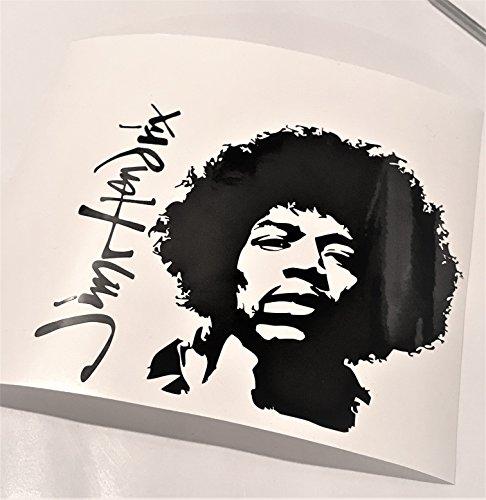 Signature Vinyl Decal - Jimi Hendrix With Signature Black Vinyl Decal 6x6 inch