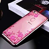 Loxxo Back Cover for Oppo F9 Pro Shockproof Soft Silicon TPU Transparent Auora Flower Case Cover for Oppo F9 Pro (Rose Gold)