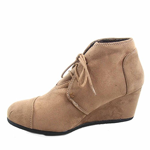 Shoes Low Oxford Forever up Link Taupe Casual Lace Booties Ankle Women's 1 Patricia Wedge vB7vqw