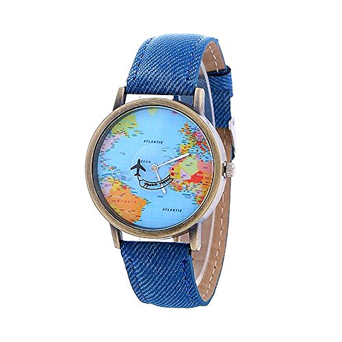 MINILUJIA Mother's Gift Airplane Moving Flying World Map Watch with Blue Jeans Color Watch Band