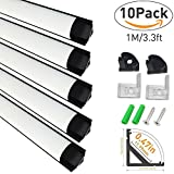 LightingWill 10-Pack V-Shape LED Aluminum Channel System 3.3ft/1M Anodized Black Corner Mount Extrusion for <12mm Width SMD3528 5050 LED Strips with Milky White Cover, End Caps, Clips V02B10