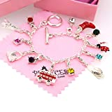 Silver Plated Link Chain Bracelet with 12 Removable Charms for Kids Teen Girls Women