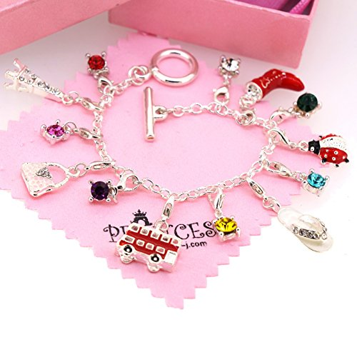 Silver Plated Link Chain Bracelet with 13 Removable Charms for Kids Teen Girls Women -