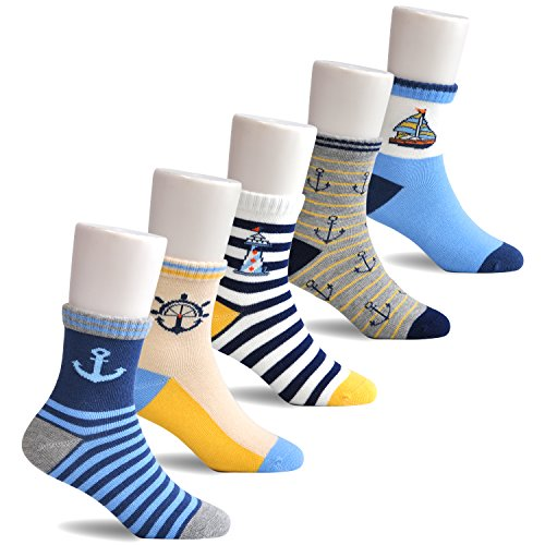 Epeius Toddler Baby Boys' 5 Pack Seamless Striped Crew Socks for 2-4 Years,Shoe Size 7-9.5,Anchor/Sailboat/Lighthouse/Stripe - Lighthouse Mall The