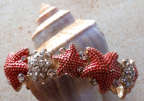 (Kensington Protective Products Stretch Bracelets - Starfish Stretch Bracelet - Coral and Sparkling Crystals - Nautical)