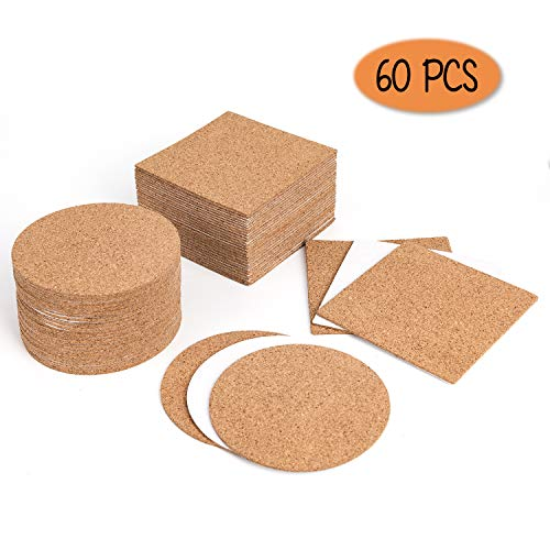 LUTER Self-Adhesive Cork Coasters Squares and Rounds Mini Cork Placemats Cork Board Tiles Cork Backing Sheets Cork Circles for Glass Cup Beer and DIY Crafts(60 Pack)