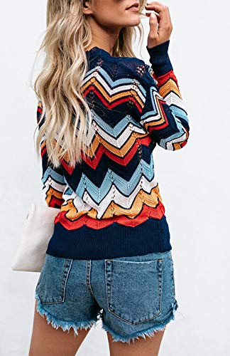 Relipop Women s Pullover Jumper Crewneck Rainbow Color Striped Knit Sweater 528894b48