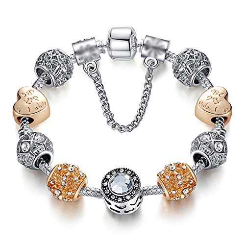 Silver 925 Crystal Four Leaf Clover Bracelet with Clear Glass Beads Charm Bracelet Bangle for Women,PS3496,21cm