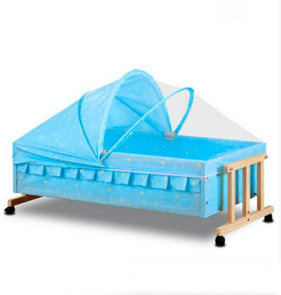 ベビークレードルベビースリーピングクレードルベッドベビーシェーカー無垢材シンプルベビーベッド (Color : Blue)