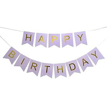 amazon com happy birthday party banner light purple blackground